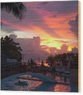 First Sunset In Negril Wood Print