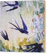 First Swallows Of Summer  Wood Print