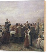 First Thanksgiving Vintage Painting Wood Print
