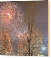 Firstnight Fireworks Wood Print