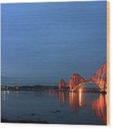 Firth Of Forth Bridges At Twilight - Panorama Wood Print