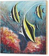 Moorish Idol Fish And Coral Reef Wood Print