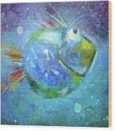 Fish Blue Wood Print