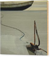 Fish Boat And Anchor On Low Tide  Wood Print
