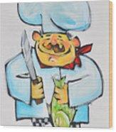 Fish Chef Wood Print