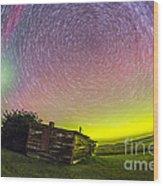 Fish-eye Lens Composite Of Aurora Wood Print