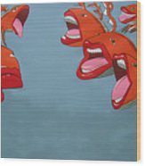 Fish Fight Wood Print
