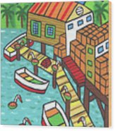 Fish House-cedar Key Wood Print