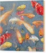 Fish In A Lake Wood Print