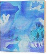 Fish In Blue Wood Print