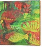 Fish In Green Wood Print