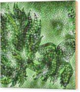 Fish In Green Mosaic 2 Wood Print