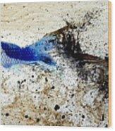 Fish In Rapids Wood Print
