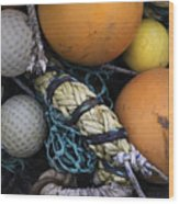 Fish Netting And Floats 0129 Wood Print