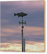 Fish Weather Vane At Sunset Wood Print