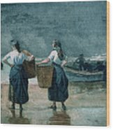 Fisher Girls By The Sea Wood Print by Winslow Homer