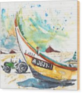 Fisherboat In Praia De Mira Wood Print