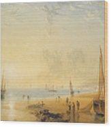Fisherfolk On The Shore Near Dover At Sunset Wood Print