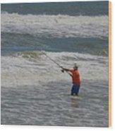 Fisherman And The Sea Wood Print