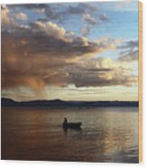 Fisherman At Sunset On Lake Titicaca Wood Print