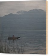 Fisherman Baiting Line Lake Atitlan Guatemala Wood Print