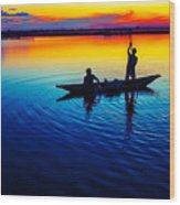Fisherman Boat On Summer Sunset, Travel Photo Poster Wood Print