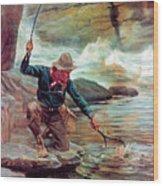 Fisherman By Stream Wood Print