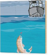 Fisherman Fishing Trout Fish Retro Wood Print by Aloysius Patrimonio