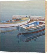 Coastal Wall Art, Fisherman In A Calm, Fishing Boat Paintings Wood Print