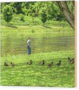 Fisherman Lazy Day At The Lake Wood Print