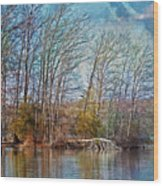 Fisherman On Burke Lake Wood Print