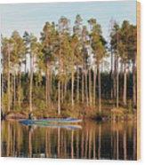 Fisherman On Evening Lake Wood Print