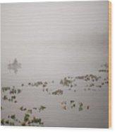 Fisherman On Lake Cassidy In Fog Wood Print