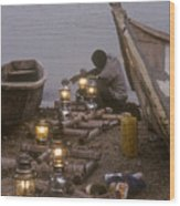 Fisherman Prepares Lanterns For Night Wood Print