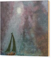 Fisherman Under Full Moon Wood Print