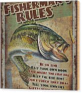 Fisherman's Rules Wood Print by JQ Licensing