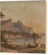 Fishermen At The Bay Wood Print