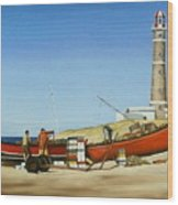 Fishermen By Lighthouse Wood Print