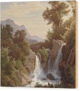 Fishermen By The Waterfall Wood Print