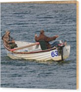 Fishermen In A Boat Wood Print