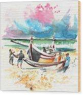 Fishermen In Praia De Mira 03 Wood Print