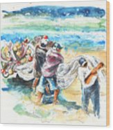 Fishermen In Praia De Mira Wood Print
