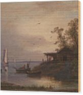 Fishermen In The Harbour Wood Print