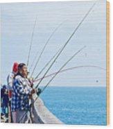 Fishermen On Commercial Pier In Monterey-california  Wood Print