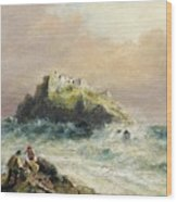 Fishermen On The Rocks Before A Castle Wood Print