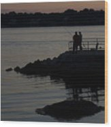 Fishermen Silhouetted By The Sunset Wood Print