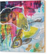 Fishes In Water, Original Painting Wood Print