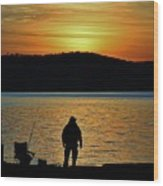 Fishing Along The Hudson Wood Print