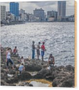 Fishing Along The Malecon Wood Print