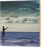 Fishing At Dusk Wood Print